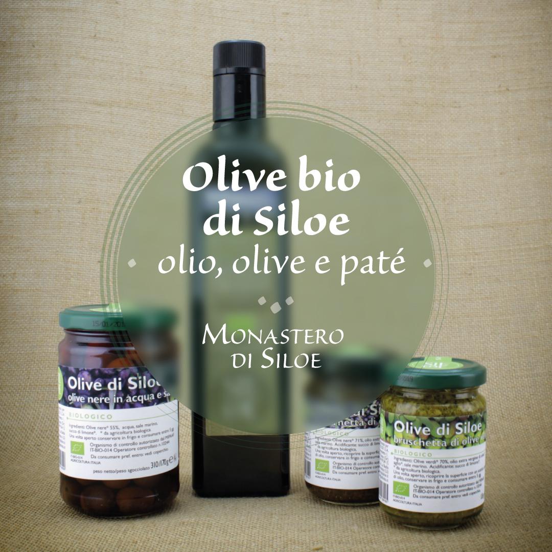 Olive bio di Siloe: olio, olive, paté